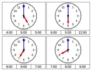 Telling Time Hour Clip Cards