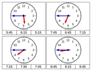 Telling Time Quarter Hour Clip Cards