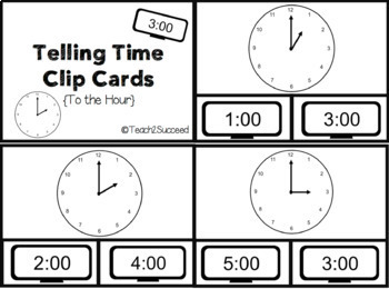 Telling Time Clip Cards { To the Hour and Half Hour }
