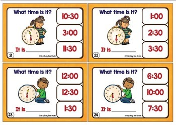 Telling Time Clip Cards (Whole Hours &Half-Hours)