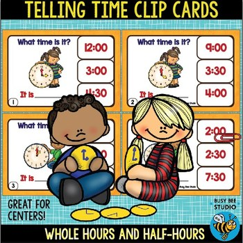 ESL Resources: Telling Time Clip Cards (Whole Hours &Half-Hours)