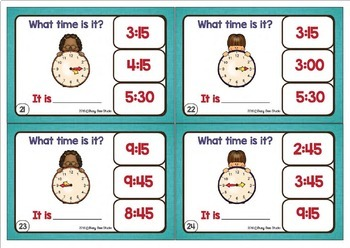 Telling Time Clip Cards (quarters of an hour)