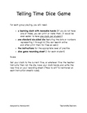 Telling Time (Clock) Dice Game