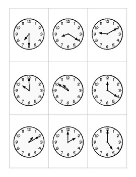 Telling Time Clock Flash Cards