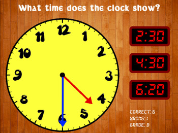 Telling Time - Clock Game (Playable at RoomRecess.com)