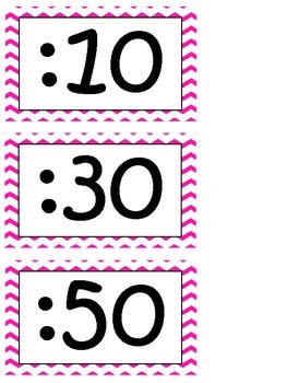 Telling Time Clock Helpers-Chevron Theme