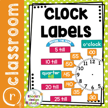 Telling Time Clock Labels Bright Back to School Decor