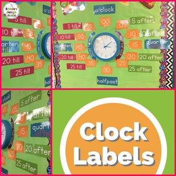 Telling Time Clock Labels Bright Back to School Decor (also Australian)