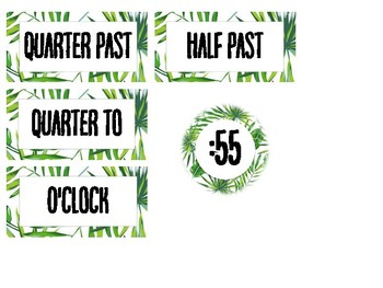 Telling Time Clock Labels - Leaf Theme