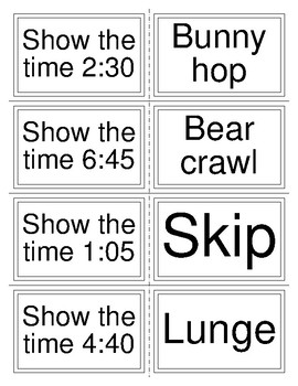 Telling Time- Clock Race Cards