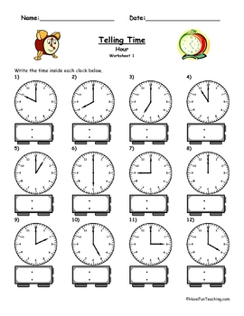 math worksheet : telling time clock worksheet  to the hour by have fun teaching  tpt : Clocks Worksheets