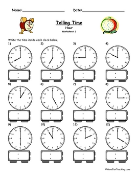 telling time clock worksheet to the hour by have fun teaching tpt. Black Bedroom Furniture Sets. Home Design Ideas