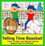 Telling Time Baseball Math: 3 Levels of Play Catch - Common Core