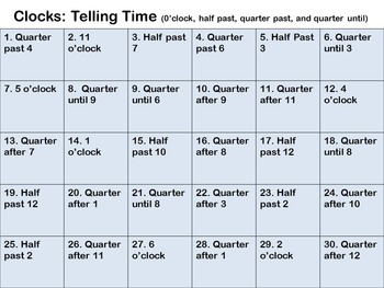 Telling Time, Clocks, Quarter Past, Quarter Until, Half Past, O'clock Scoot Game