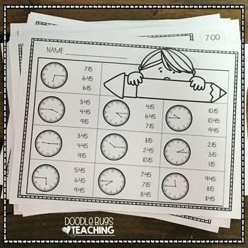 Telling Time Clocks Worksheet Printables