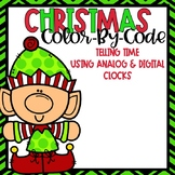 Telling Time Color-By-Code Using Clocks-- Christmas Themed
