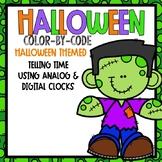 Telling Time Color-By-Code Using Clocks-- Halloween Themed
