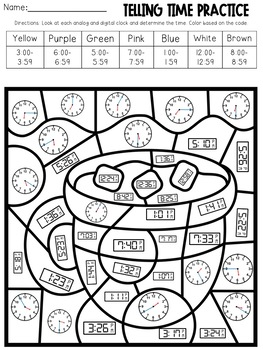 Telling Time Color-By-Code Using Clocks-- Winter Themed