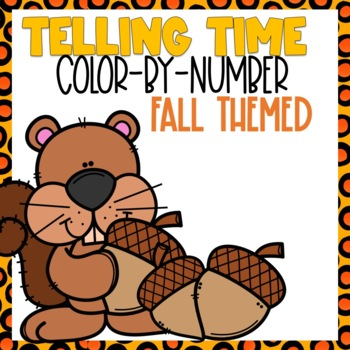 Telling Time Color-By-Number Fall Themed