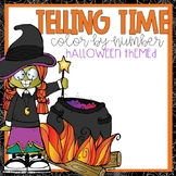 Telling Time Color-By-Number Halloween Themed