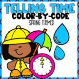 Telling Time Color-By-Number Spring Themed