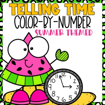 Telling Time Color-By-Number Summer Themed