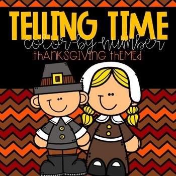 Telling Time Color-By-Number Thanksgiving Themed