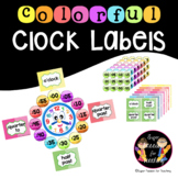 Telling Time Colorful Clock Labels-SuperPassionForTeaching