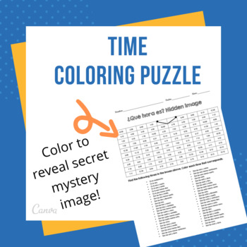 Telling Time Coloring Puzzle (ALL TIMES)