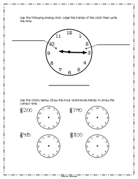 Telling Time: Common Core Assessment