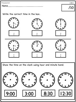Telling Time/ Common Core Math Assessment 1.MD.3