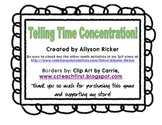 Telling Time Concentration - A Matching Game