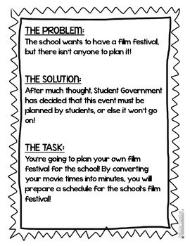 Converting Units of Time Film Festival Project