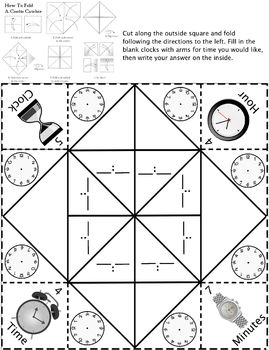 Telling time cootie catcherfortune teller make your own times tpt telling time cootie catcherfortune teller make your own times ibookread
