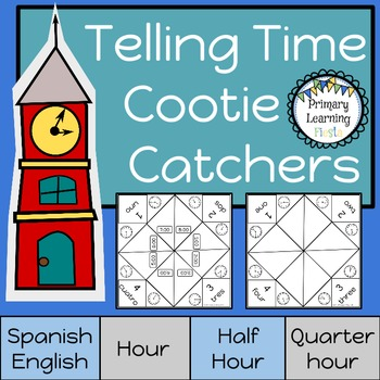 Telling Time Cootie Catchers - Spanish and English
