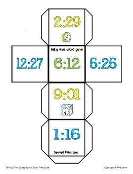 Telling Time Cubes Game