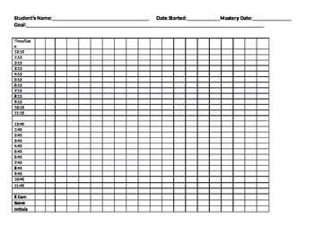Telling Time Data Sheet 2