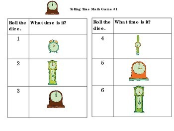 Telling Time Dice Games: 1st/ 2nd grade- hour and half hour