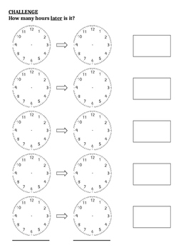 Telling Time Differences Between Analogue Clocks Challenge