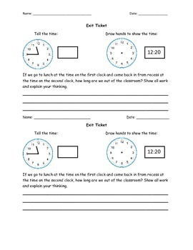 Telling Time Differentiated Lesson