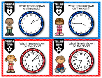 Telling Time Differentiated/Leveled Task Cards, Scoot, or Centers
