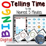 Telling Time to the Five Minutes Digital Bingo Game