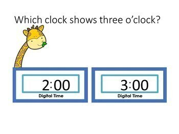 Telling Time Digital Clocks and Words Hour and Half Hour Interactive PowerPoint