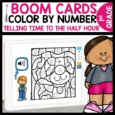 Telling Time Digital Color by Code using Boom Cards | Time to the Half Hour