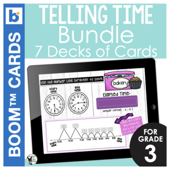 Telling Time Digital Task Card Bundle 7 DECKS