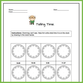 Telling Time. Draw In The Clock Hands 24 Problems Worksheets   2.MD.C.7