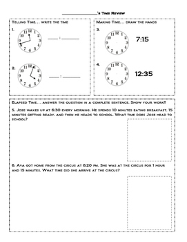 Telling Time/Elapsed Time