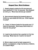 Telling Time, Elapsed Time Word Problems, and Volume Worksheet