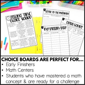 Telling Time Enrichment Activities - Math Menu, Choice Board