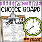 Telling Time Enrichment Activities - Math Menu, Choice Board